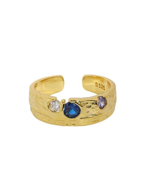 18K gold [No. 13 adjustable] 925 Sterling Silver Cubic Zirconia Irregular Vintage Band Ring